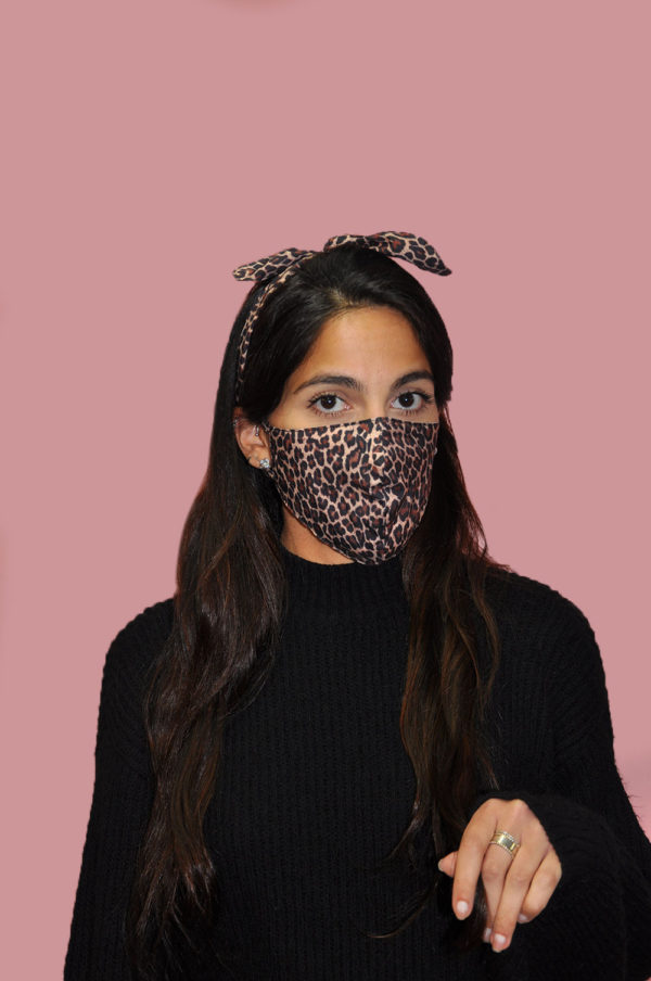 brown leopard animal print bow mask- front