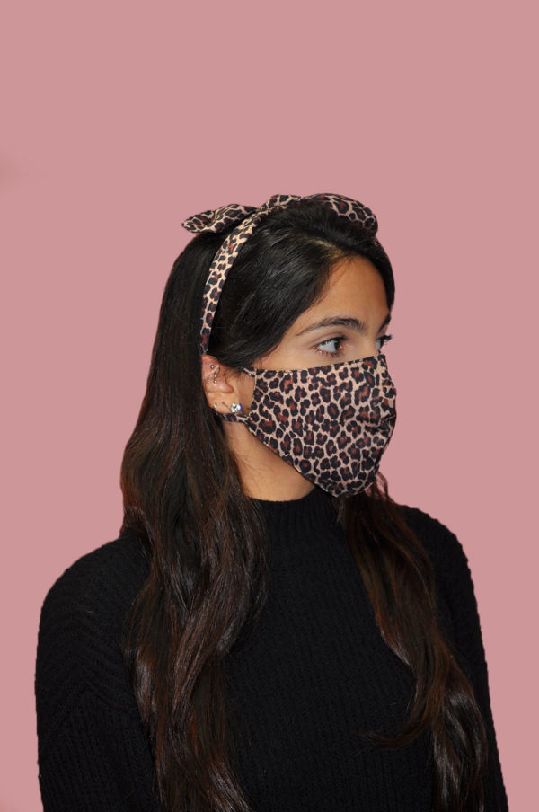 brown leopard animal print bow mask- side