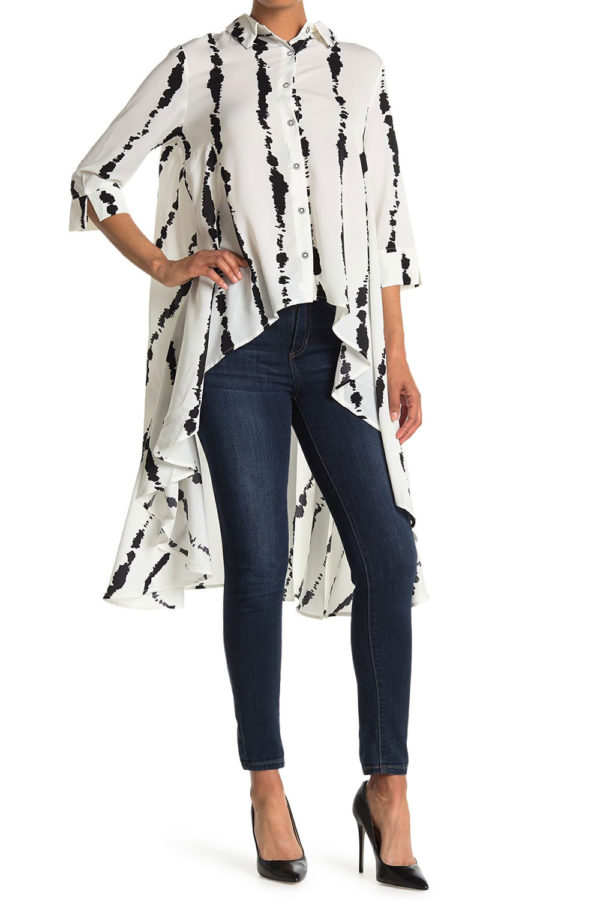 white with black stripe high low blouse- front
