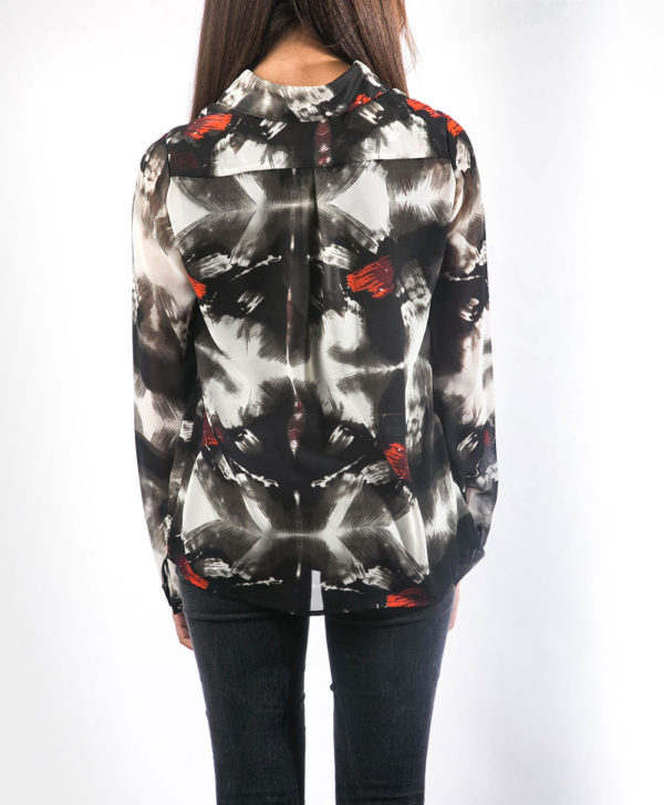 black white and red abstract printed tie front blouse-back