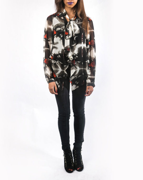 black white and red abstract printed tie front blouse-front