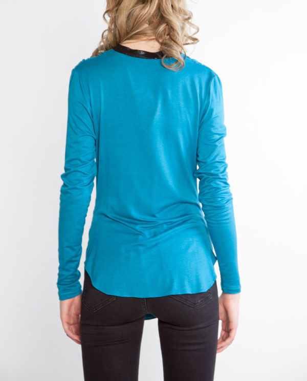 teal draped front top faux leather neck top- back