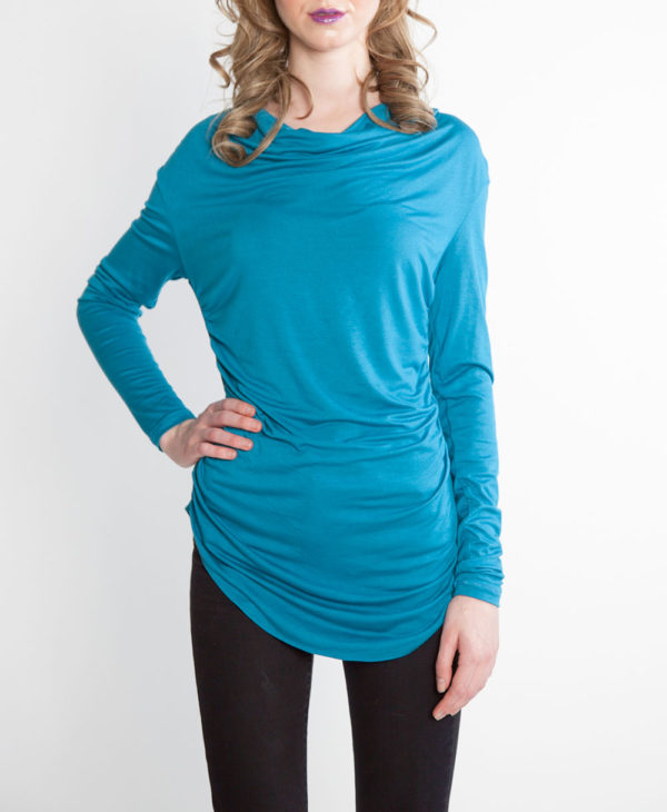 teal draped front top faux leather neck top- front
