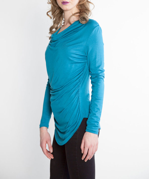 teal draped front top faux leather neck top- side