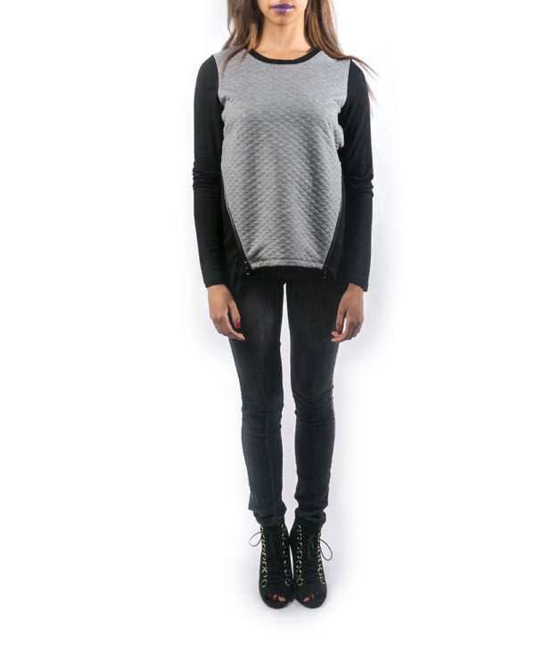 black and grey side zipped top- front