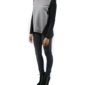 black and grey side zipped top- side