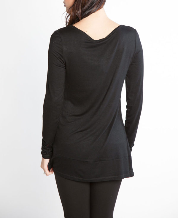 black and grey color blocked long sleeve top- back