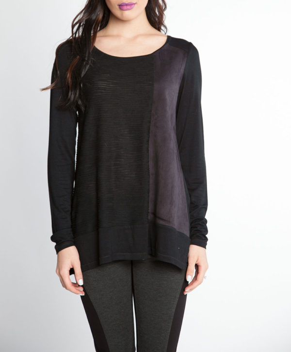 black and grey color blocked long sleeve top- front