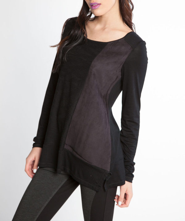 black and grey color blocked long sleeve top- side