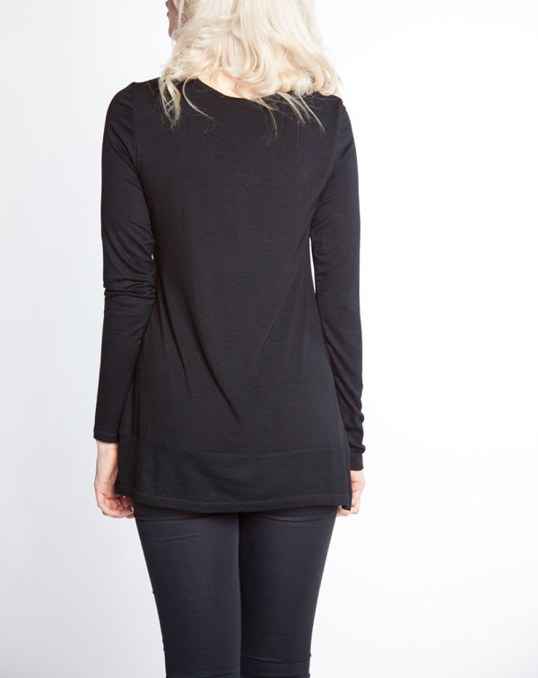 black and red color blocked long sleeve top- back