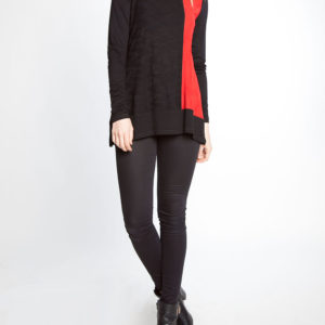 black and red color blocked long sleeve top- front
