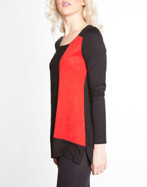 black and red color blocked long sleeve top- side