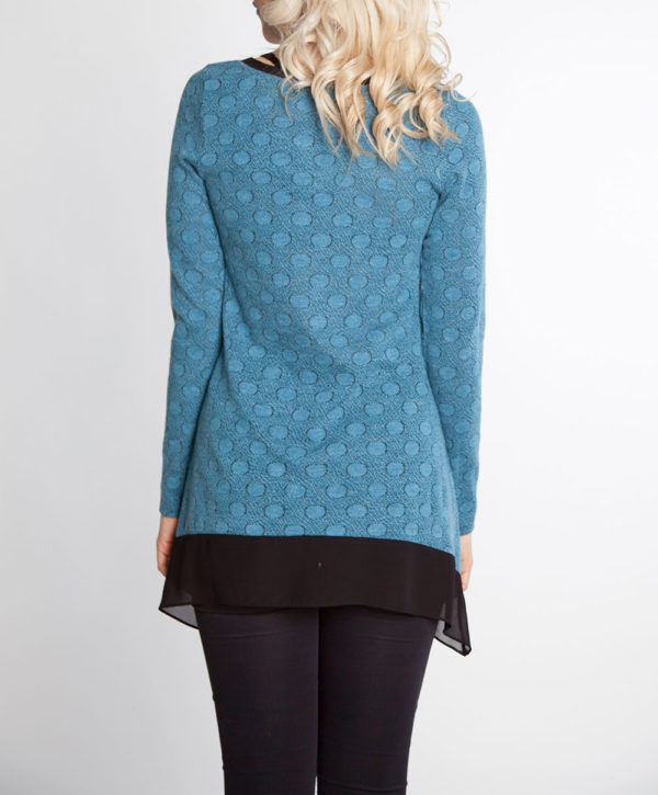 blue dot print chiffon hem long sleeve top- back