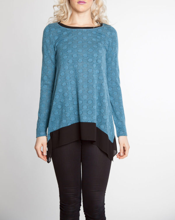 blue dot print chiffon hem long sleeve top- front