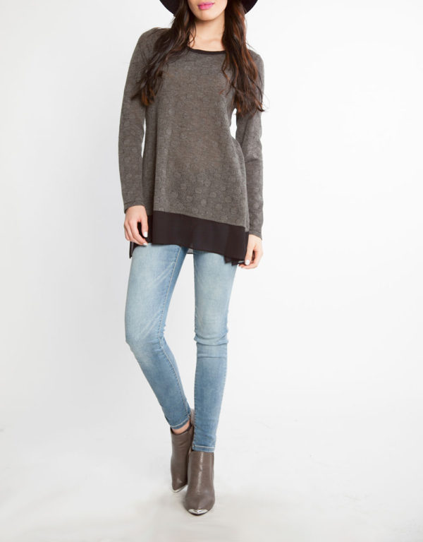 grey dot print chiffon hem long sleeve top- front