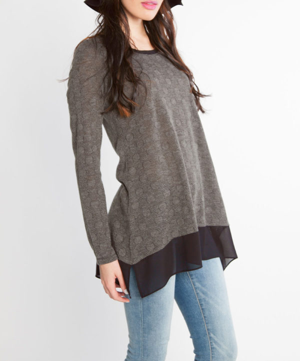grey dot print chiffon hem long sleeve top- side