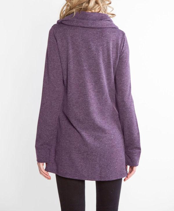 plum purple zip front cowl neck top- back