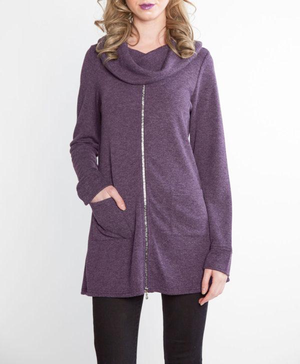 plum purple zip front cowl neck top- front
