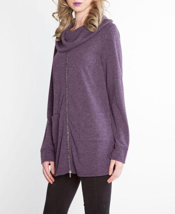 plum purple zip front cowl neck top- side