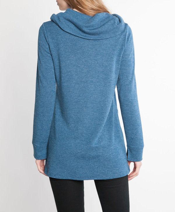 teal blue zip front cowl neck top- back