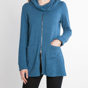 teal blue zip front cowl neck top- front