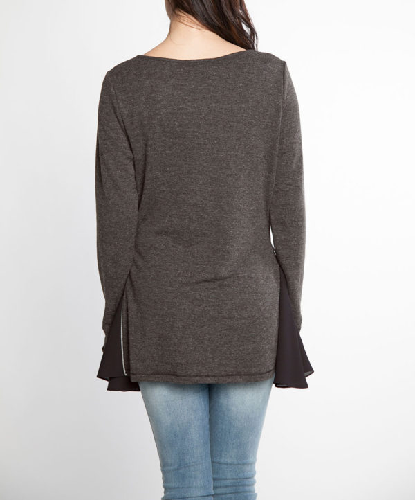 charcoal and black chiffon side long sleeve top- back