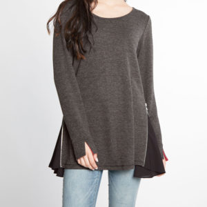 charcoal and black chiffon side long sleeve top- front