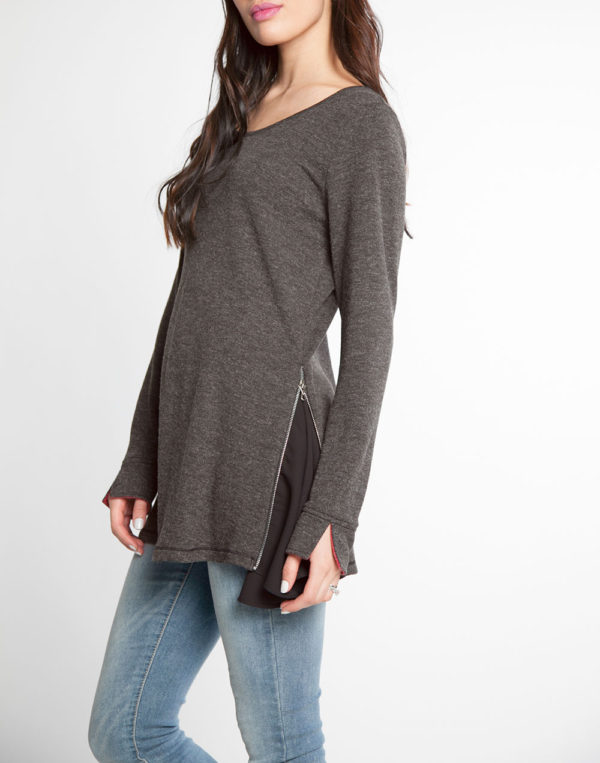 charcoal and black chiffon side long sleeve top- side