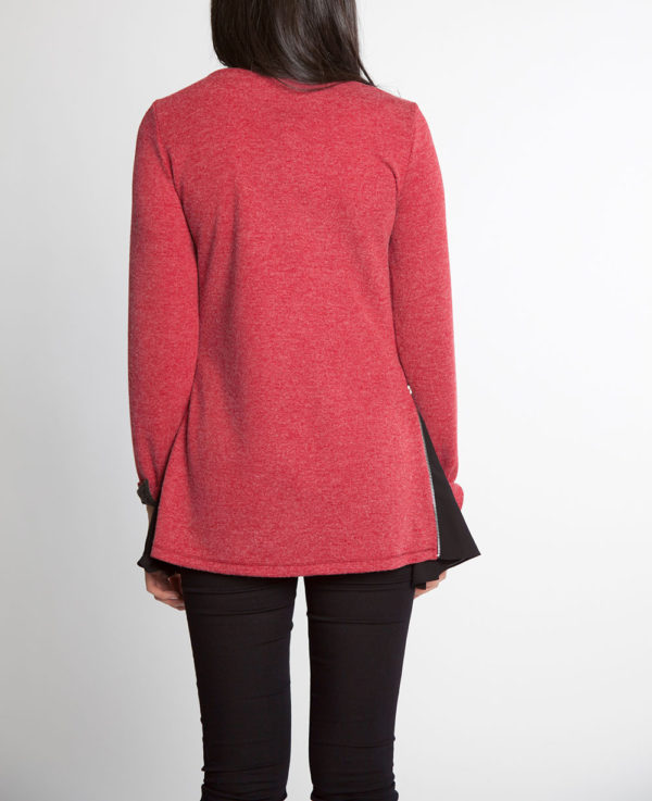red and black chiffon side long sleeve top- back