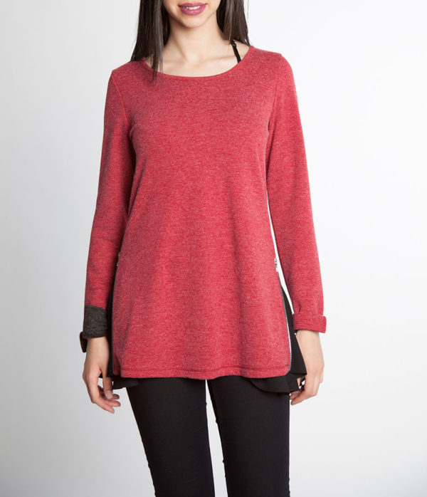red and black chiffon side long sleeve top- front