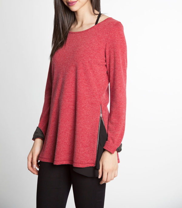 red and black chiffon side long sleeve top- side