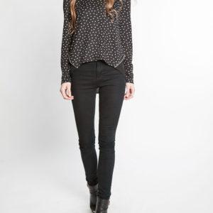 black and white polka dot zip back chiffon insert long sleeve top- front