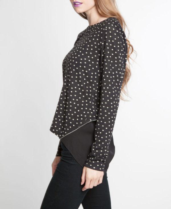 black and white polka dot zip back chiffon insert long sleeve top- side