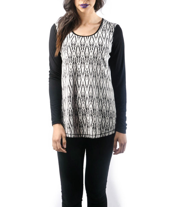 BLACK AND WHITE PRINTED LONG SLEEVE TOP- FRONT