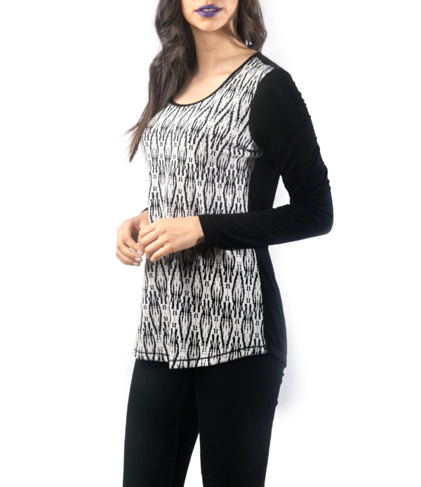 BLACK AND WHITE PRINTED LONG SLEEVE TOP- SIDE