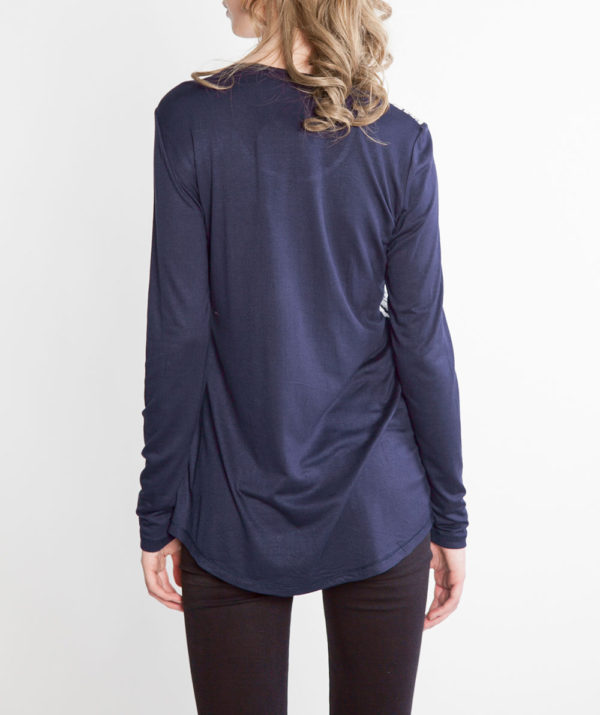 NAVY AND WHITE PRINTED LONG SLEEVE TOP- BACK