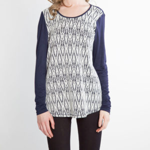 NAVY AND WHITE PRINTED LONG SLEEVE TOP- FRONT