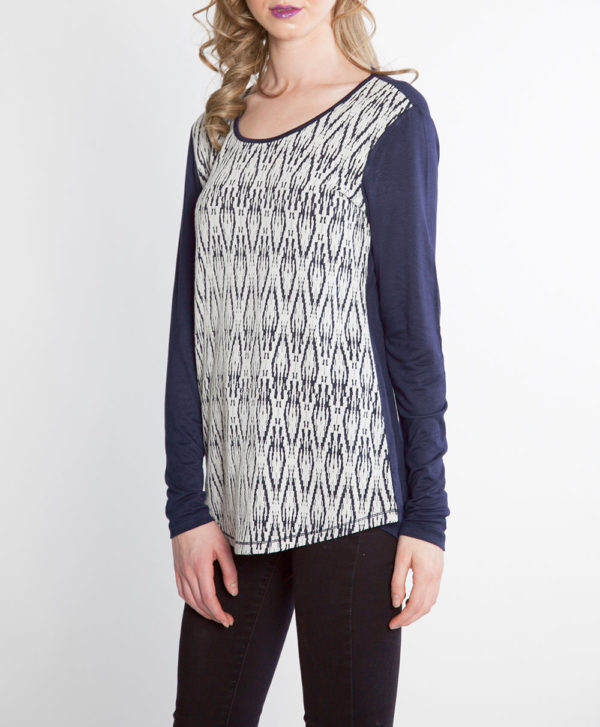 NAVY AND WHITE PRINTED LONG SLEEVE TOP- SIDE