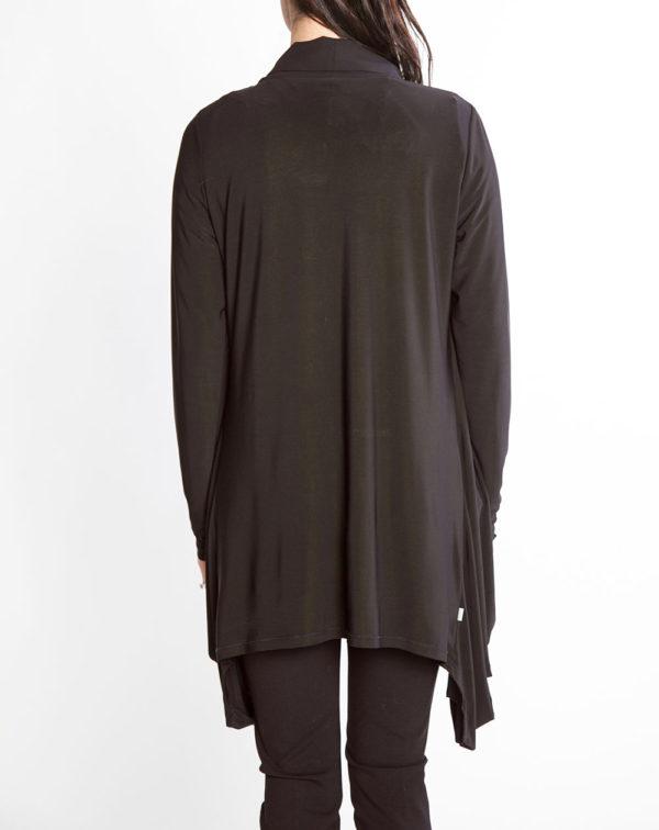 black chiffon draped open sweater- back