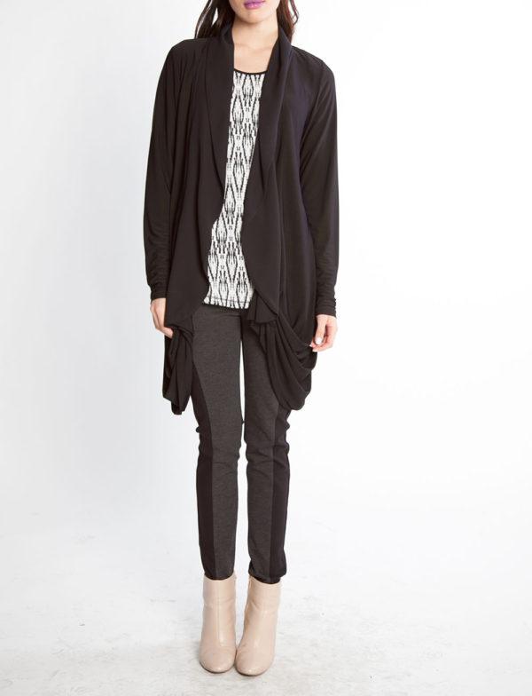 black chiffon draped open sweater- front