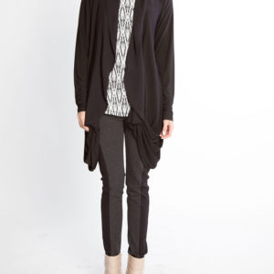 chiffon hem draped black open cardigan sweater- front