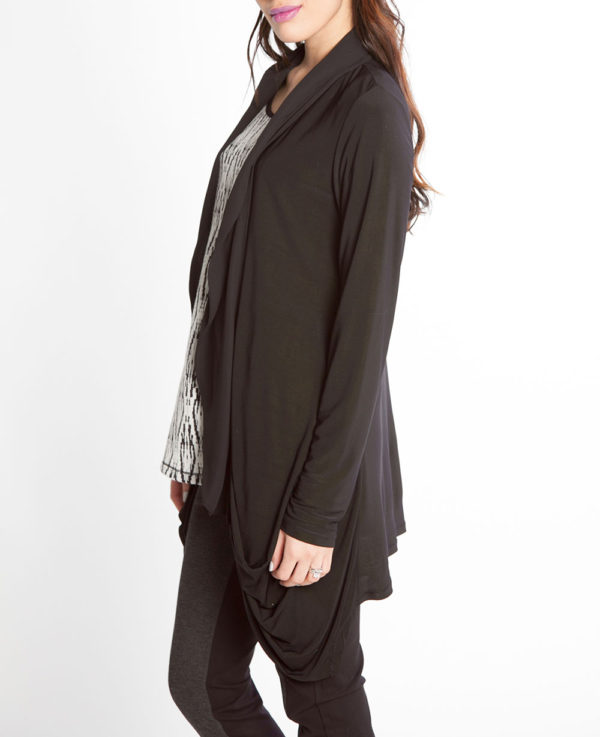 black chiffon draped open sweater- side