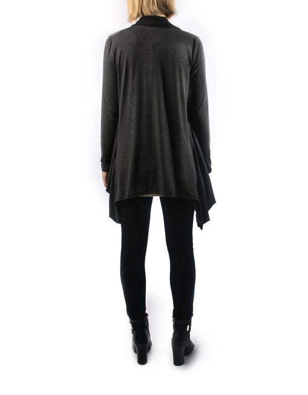 charcoal chiffon draped open sweater- back