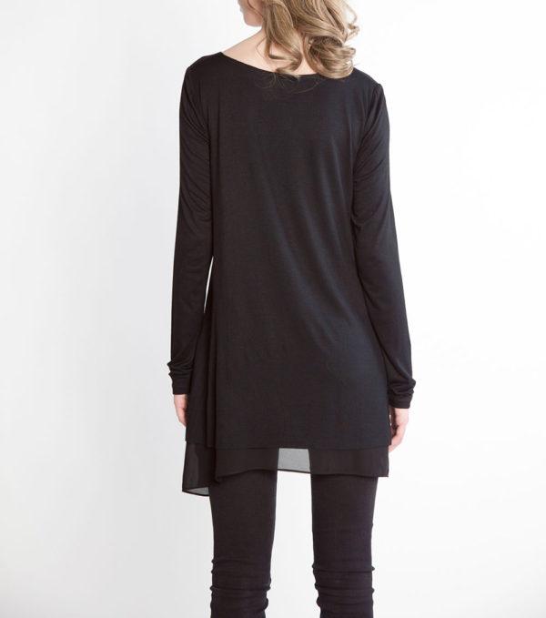 black long sleeve chiffon hem belted tunic- back
