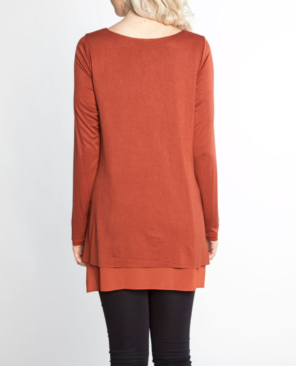 rust orange long sleeve chiffon hem belted tunic- back