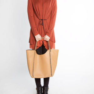 rust orange long sleeve chiffon hem belted tunic- front