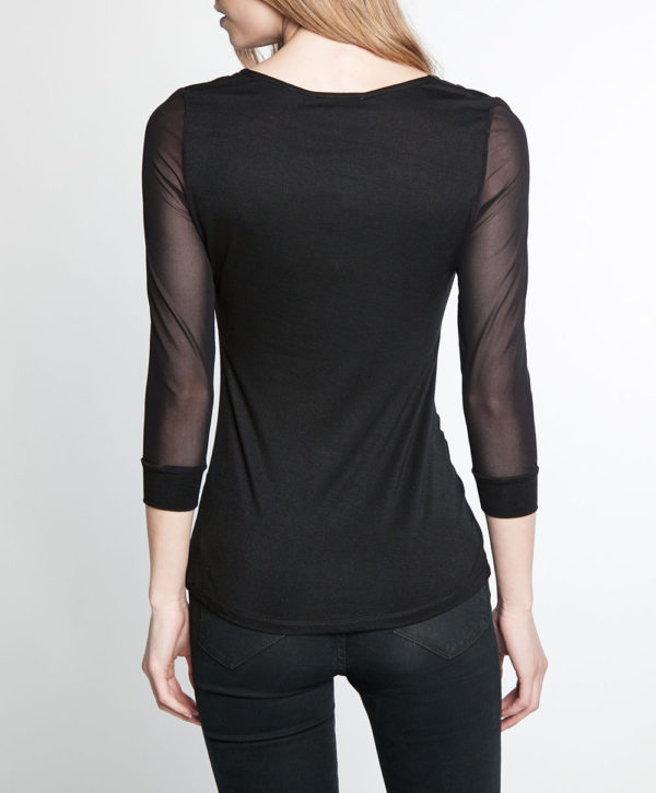 mesh sleeve ruched front black top- back