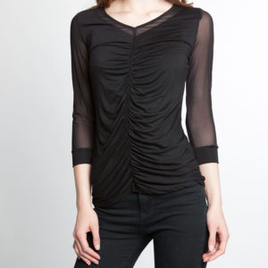 mesh sleeve ruched front black top- front