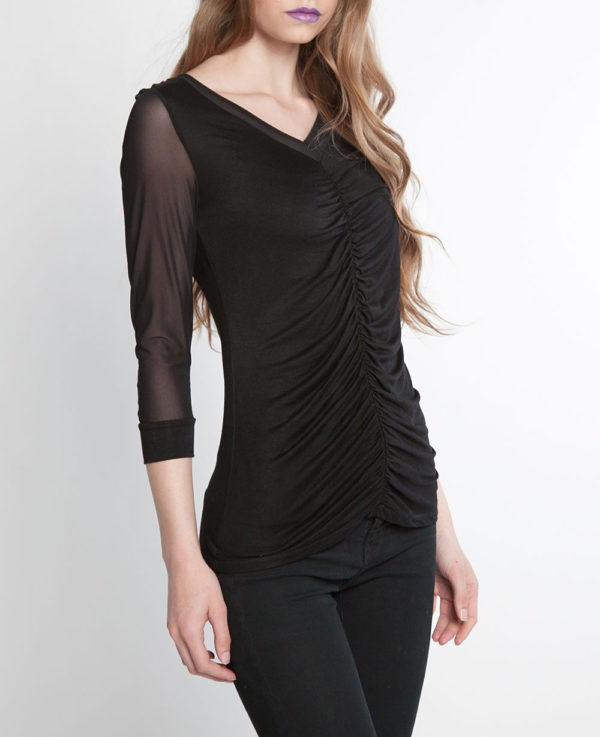 mesh sleeve ruched front black top- side