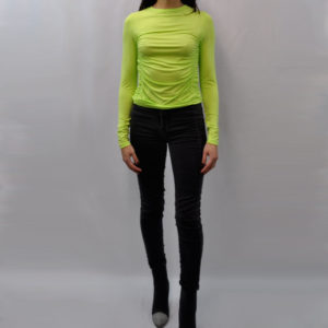 lime green long sleeved top- front